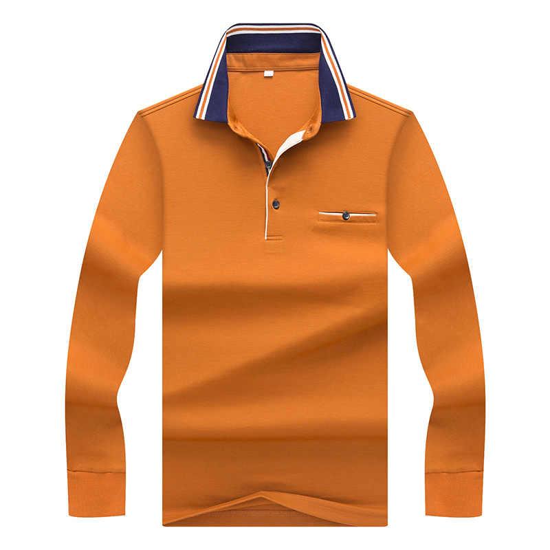 TACE و القرش العلامة التجارية الذكور طويلة الأكمام بولو صالح سليم الأعمال قميص بولو رجل مخطط طوق خليط Camisa بولو الغمد أوم