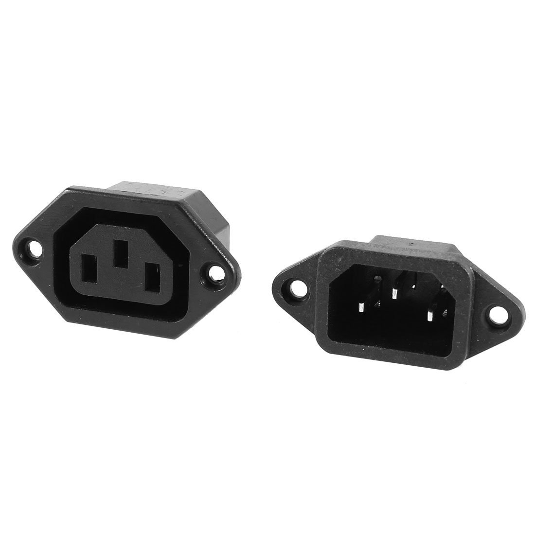 IEC C14 C1 32 Pcs 3-pin Chassis Panel Mount Plug Connector AC 250V 10A Black