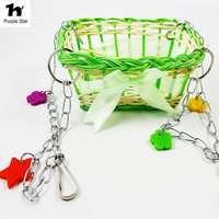 Purple Star Pet Bird Swing Perches Stand Parrot Rest Hanging Weave Basket Hamster Cage Pendant Decor