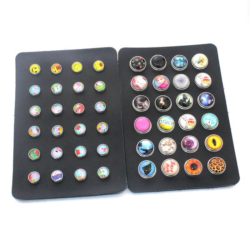 24PCS/lot 17cm*11.5cm PU leather 18mm 12mm Glass Snap Button display board watches women one direction Unisex DIY jewelry 8355