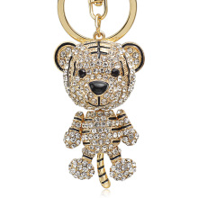 Dormon Lovely Tiger Crystal Keychains Keyrings Purse Bag Pendant For Car Key Ring Chain Holder Fashion Gift DK232