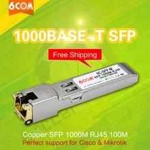 6COM совместимый для Cisco Compatible GLC-T/SFP-GE-T Gigabit RJ45 Медь SFP, 1000Base-T модуль приемопередатчика