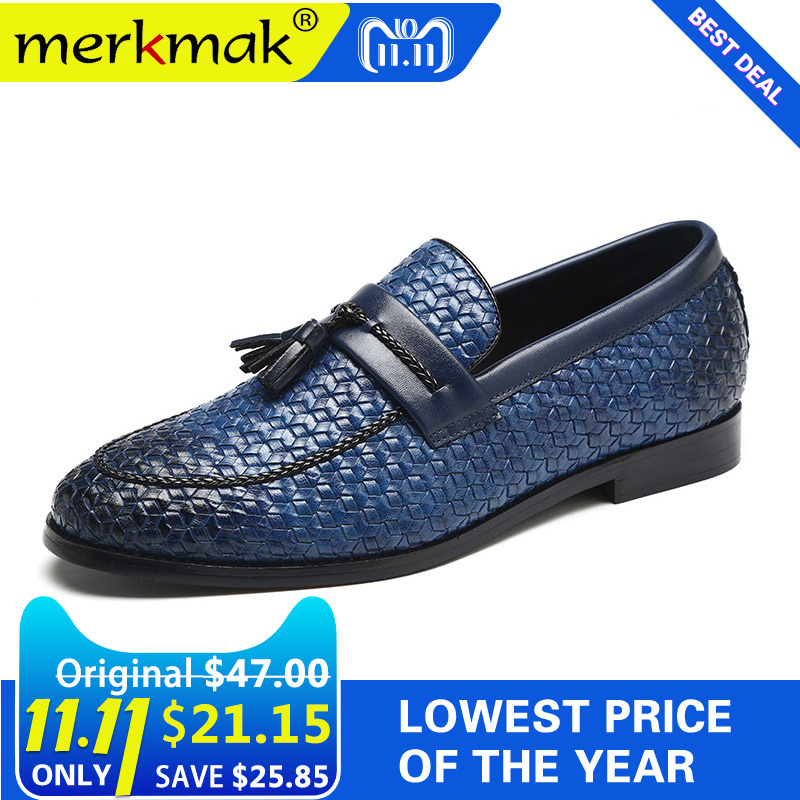 Merkmak Men Leather Shoes Oxford Micofiber Leather Shoes Casual Tassel Luxury Brand Flats Shoes Casual Footwear Slip On Loafers dadawen boy s girl s slip on loafers oxford shoes