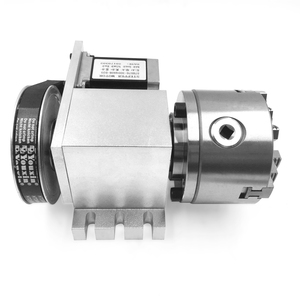 Image 2 - Rotary Axis 4th Axis Tailstock Hollow Shaft 3 Jaw Lathe Chuck 100mm Rotational Axis Nema23 Stepper Motor Set for Router Machine