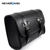 Black Motorcycle Saddle Bags Leather Motorbike Side Tool Pouch Tail Bag Luggage Borsello Moto Universal Freeshipping