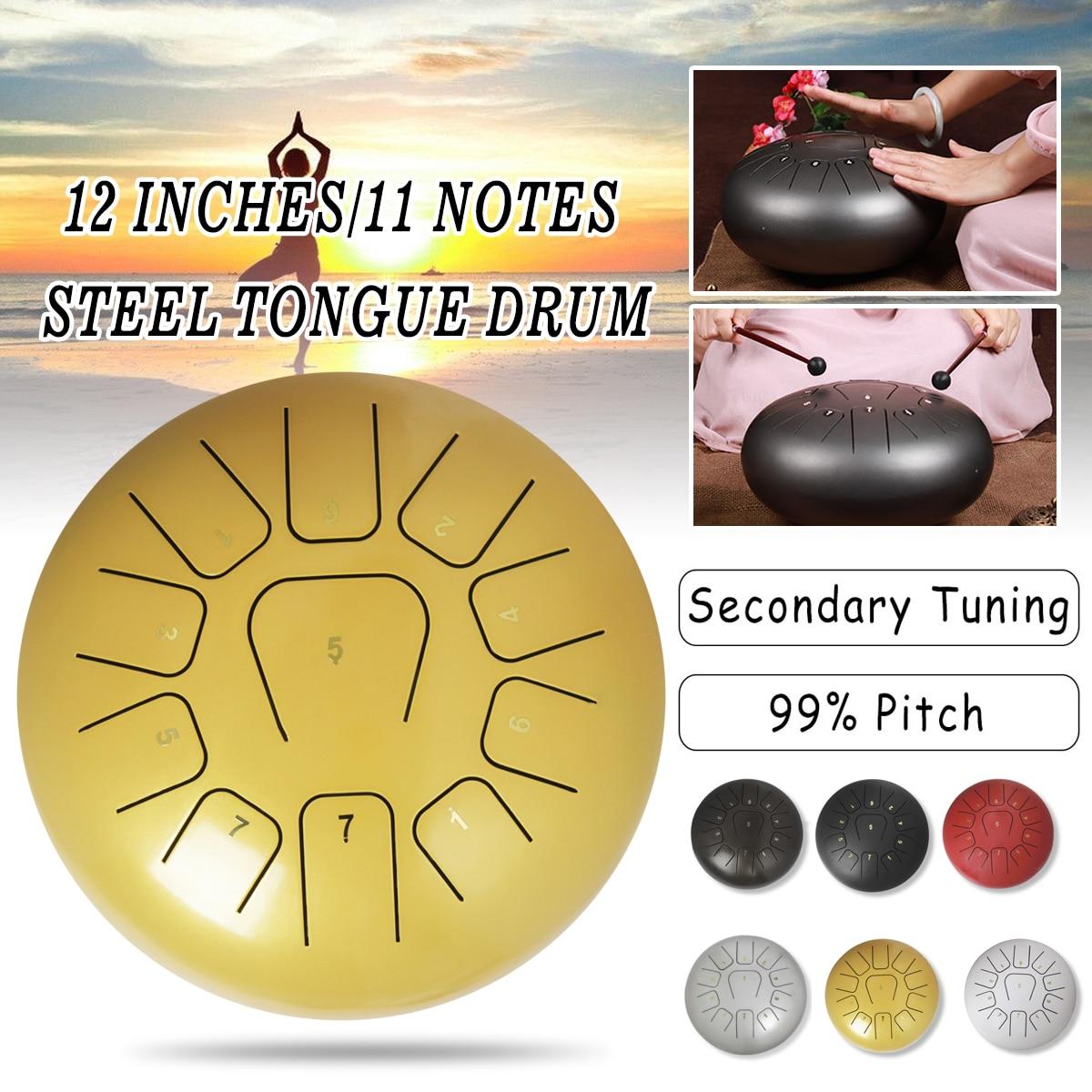 12 ''langue en acier tambour 11 Notes Handpan tambour Tankdrum Instrument avec maillets sac de rangement pour enfants adultes Instruments de Percussion