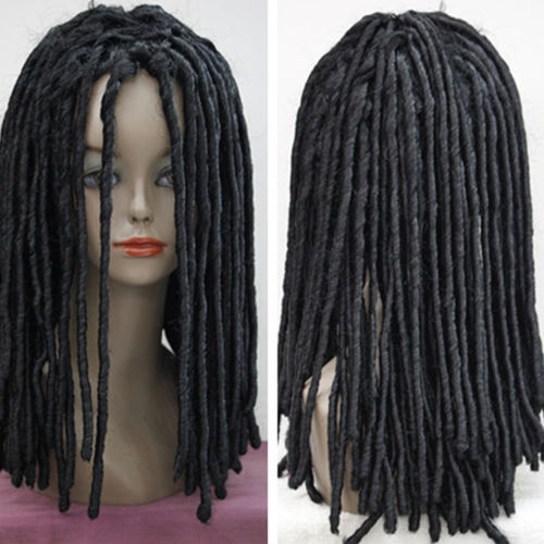 Hot heat resistant free shipping>>>>>>>>>>>>>>Dreadlocks American African Wig Long Roll Curls Hair Cosplay Sexy Rasta Full Wig synthetic bjd wig long wavy wig hair for 1 3 24 60cm bjd sd dd luts doll dollfie cut fringe