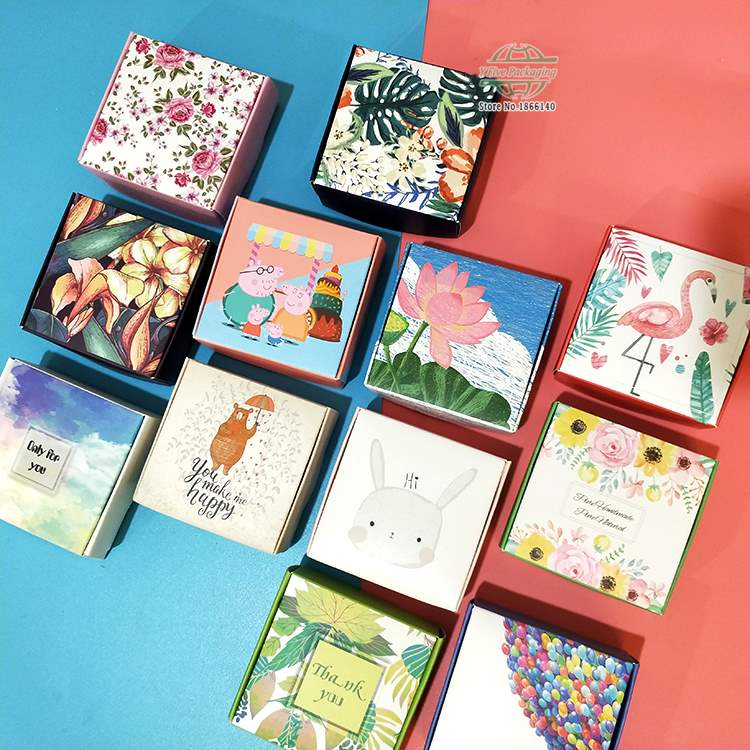 11 Colors Printed Flower Paper Box Jewelry Gift Box Wedding Favors Candy Box Soap Packaging Boxes