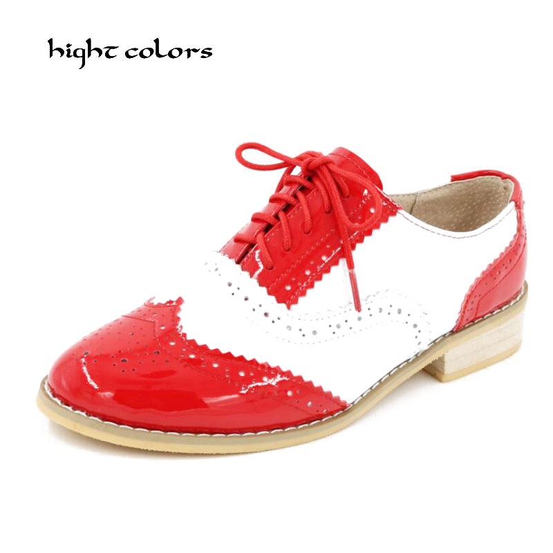 33~45 Size Women Genuine Leather Oxford Shoes Fashion Round Toe Lace Up Flat Ladies England Style Brogue Oxfords For Women D005 top quality england style retro mens cow genuine leather brogue shoes male casual shoes lace up round toe breathable wing tip