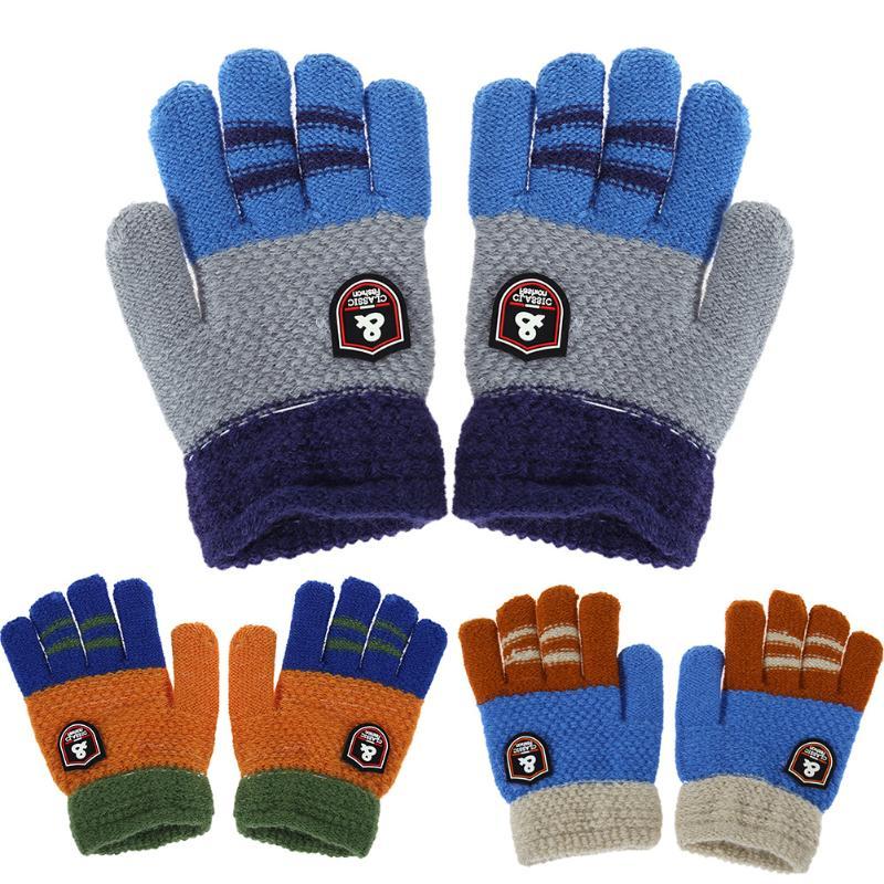 Winter Kids Baby Warm Gloves Cartoon Children Knitted Stretch Mittens Boys Girls Patchwork Elastic Full Finger Gloves Hand Muff