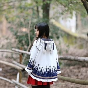 Image 4 - Merry Pretty Cloak outerwear women autumn rabbit print ear stereo hoodies coat cotton pullover poncho jacket cloak hooded coat