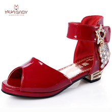 Muababy Children Sandals style Summer Kids ladies princess Sandals flash High-heeled Shoes Fish mouth Sandals for Girls S74