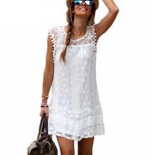 Summer Dress 2017 Women Casual Beach Short Dress Tassel Black White Mini Lace Dress Sexy Party Dresses Vestidos S-XXL