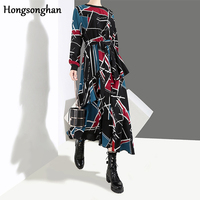 Hongsonghan 2018 autumn and winter new indie folk large size Korean style lace up waist show thin printed O neck long dress