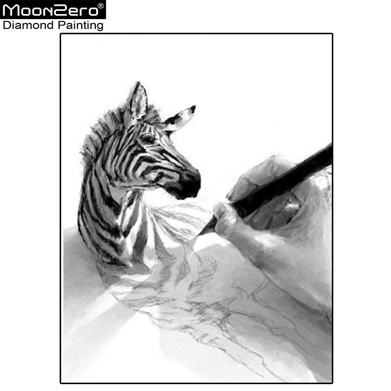 New Diamond Diy Needlework Embroidery 3d Sketch Hand Painting Zebra