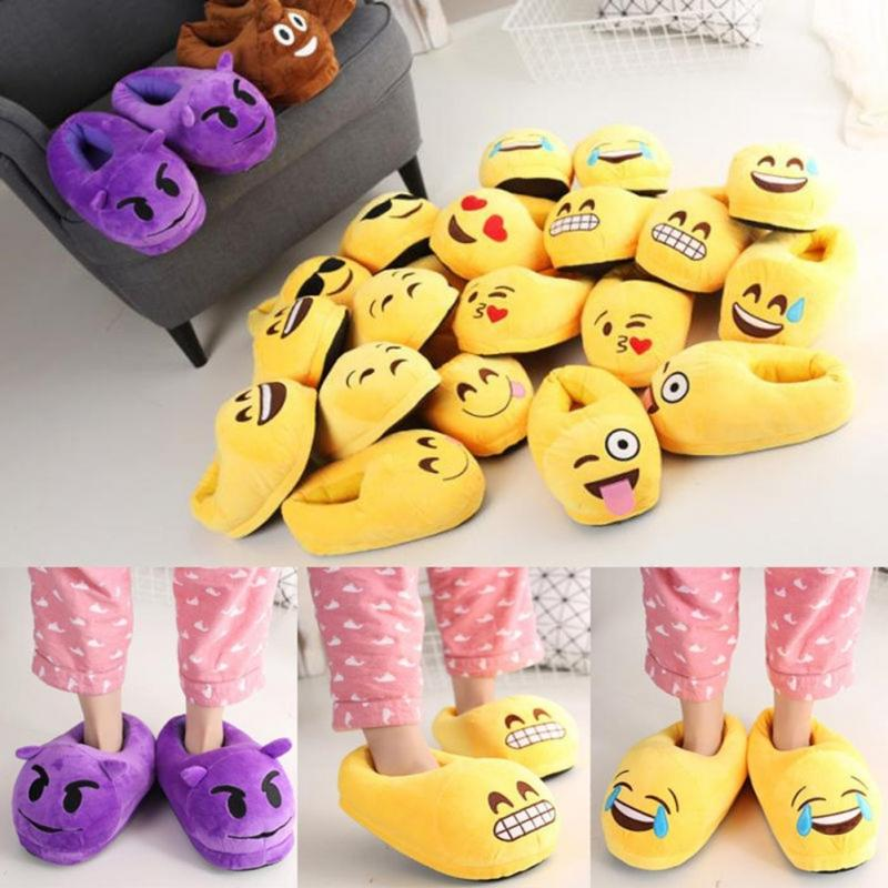 13 styles Funny Plush Emoji Slippers Indoor Shoes House Cute Slippers Warm House Slipper Unisex Free Size 35-44