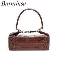 Burminsa Crocodile Print Small Women Handbags Box Designer Shoulder Bags Alligator Ladies Purse High Quality Crossbody Bags 2018