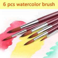 6 יחידות סט סט מברשת צבע מברשת צבע שיער ניילון באיכות גבוהה עבור אקריליק צבעי מים ציור מברשות ציור שמן אמנות אספקת