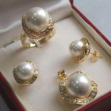 Prett Lovely Women's Wedding luxurious white South Sea Shell Pearl Jewelry Set ( ring pendant earrings )