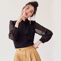 Black Chiffon Blouse Women Button Sexy Lace Korean Vintage Women Blouses Blusa Feminina Ropa Sweet Lolita