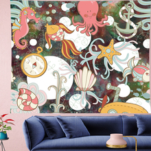Cute Jellyfish Seahorse cartoon wall hanging Underwater World Children's kids room tapestry psychedelic Wall Tapestry GN.PAPAYA