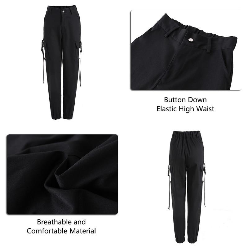 ADISPUTENT Streetwear Cargo Pants Women Casual Joggers Black High Waist Loose Female Trousers Korean Style Ladies Pants Capri 25