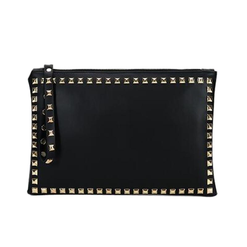 New Women Clutch Vintage Female Handbag Day Clutches Party Bag Rivet Zipper Soft
