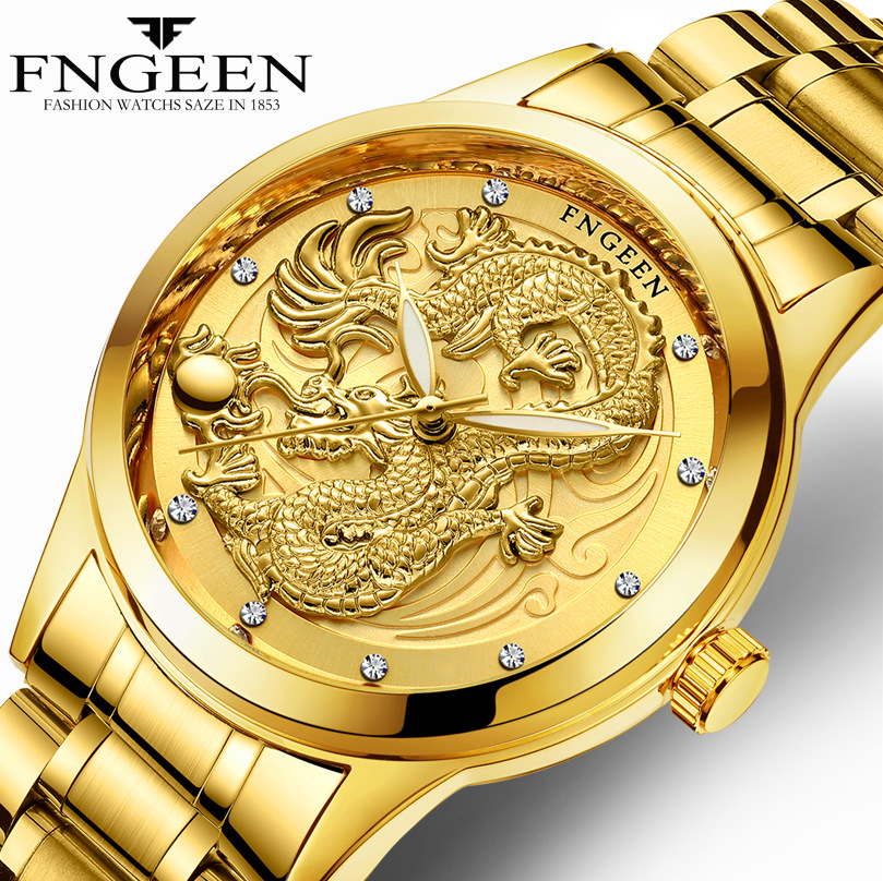 2019 New Relogio Masculino Genuine Waterproof Mens Gold Dragon Sculpture Quartz Watch Brand FNGEEN Luxury Men Steel Wristwatch