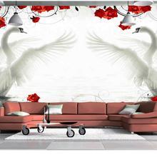 Wallpaper murals flowers Swan red roses