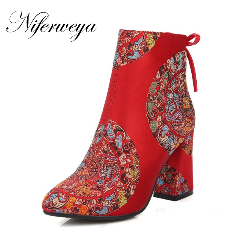 Big size 32-43 Chinese style bride shoes fashion Pointed Toe thick high heels silk embroidery Ankle Boots women wedding shoes