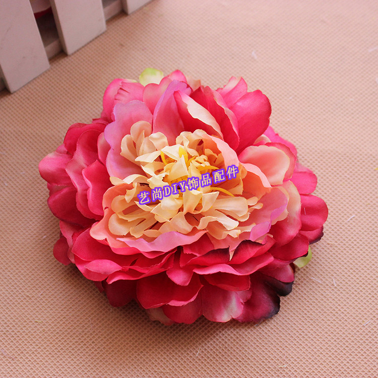 12CM,8PCS Large Fabric Artificial Real Touch Silk Peony Heads,Wedding Decoration Bridal Bouquet Supplies,Flower Girl Hair Wreath