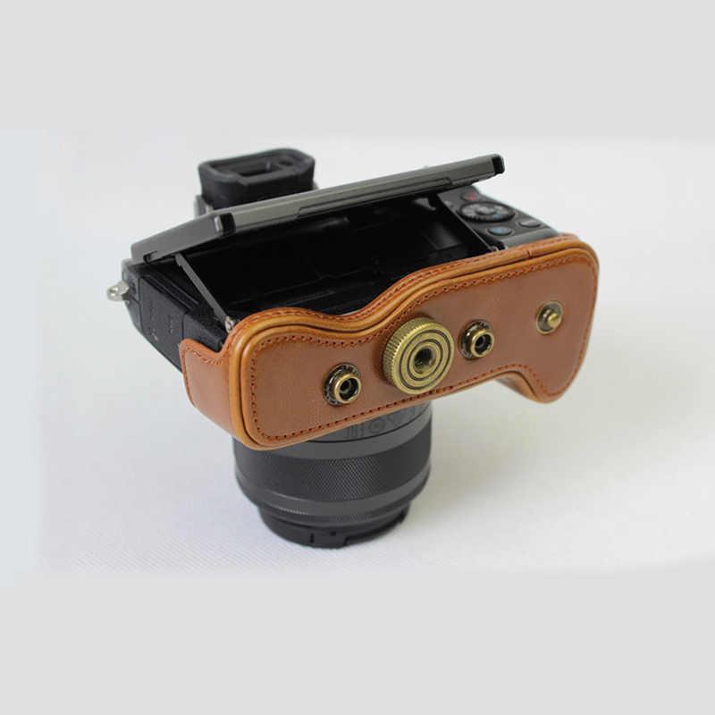 Из искусственной кожи чехол для камеры для цифровой однообъективной зеркальной камеры Canon EOS M5 M50 with15-45mm сумка
