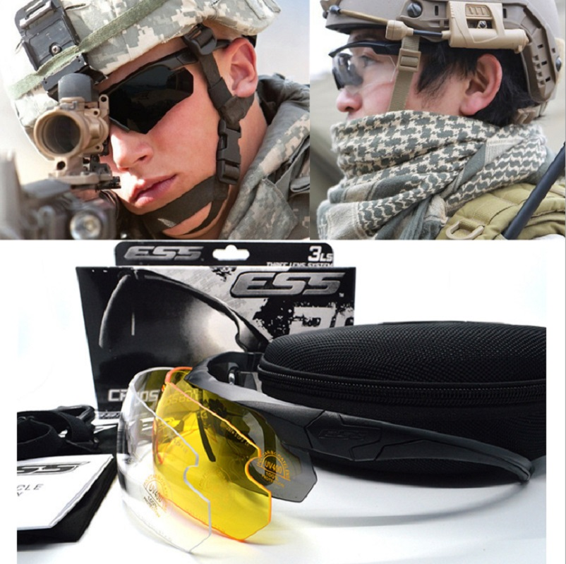 bd01ed1c83 Online Shop 2017 ESS Crossbow Military Goggles Shooting Glasses 3 Lens  UV400 Military Sunglasses Men Army Bullet-proof Eyewear Goggles