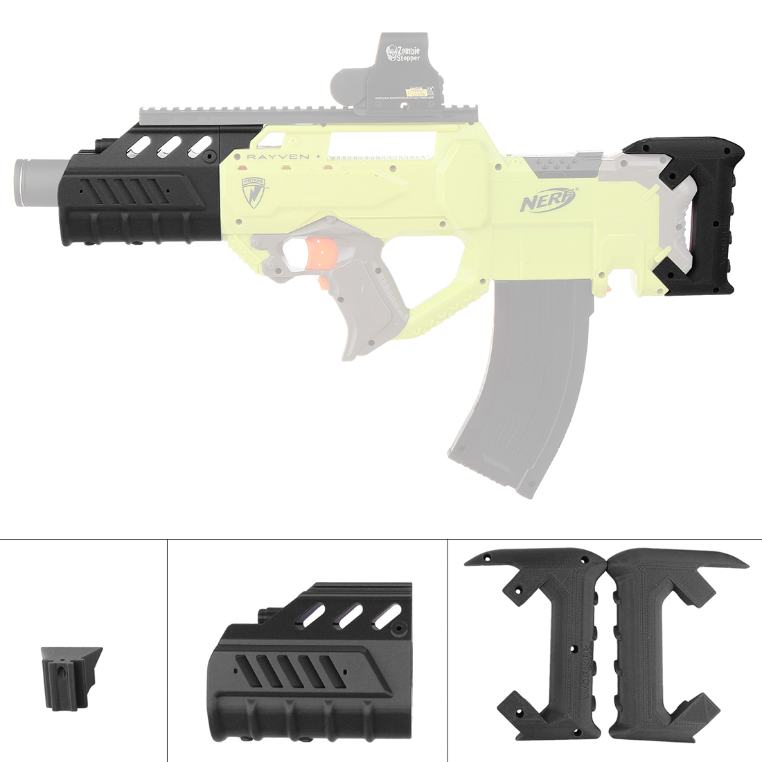 TRAVAILLEUR f10555 No 200 Lumineux Barils Kit pour Nerf N-strike Rayven CS-18 Blaster