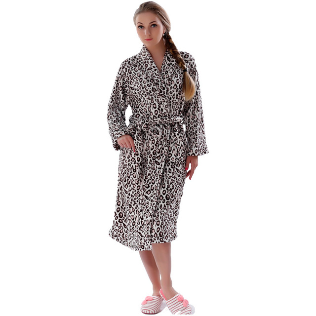 Women Plus Size Leopard Coral Fleece Warm Bathrobe Nightwear Kimono Dressing Gown Sleepwear Bath Robe For Ladies