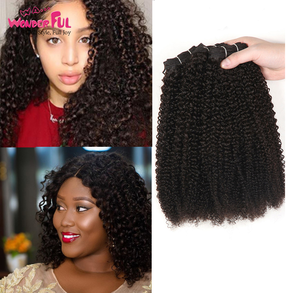 Afro Kinky Weave Curly Hair Ombre Mongolian Human Hair Weave 3 4 Bundles Deal P4 27