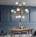 Скандинавская Золотая люстра  освещение  железный стеклянный шар  простая Подвесная лампа для гостиной  столовой  спальни  дома  деко  люстр...