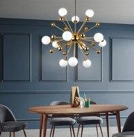 북유럽 골드 샹들리에 조명 철 유리 공 간단한 교수형 램프 거실 식당 침실 실내 홈 데코 샹들리에