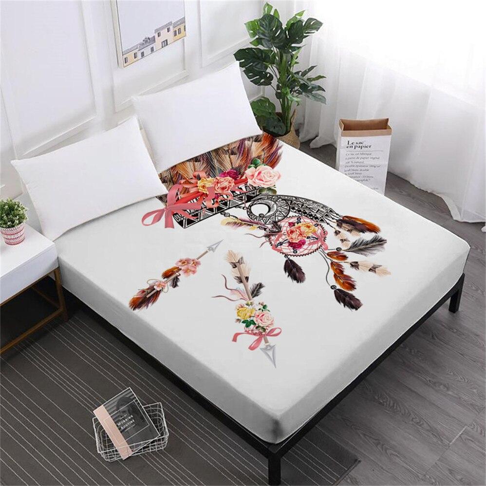 Ev ve Bahçe'ten Çarşaf'de Bohemia tarzı çarşaf Dream Catcher tüy baskı monte levha renkli yatak örtüsü elastik bant yumuşak Bedclothes D35 title=