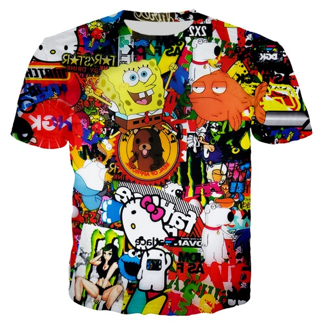 e66c18675 PLstar Cosmos 2018 Summer New Fashion t shirt Anime Character Collage 3D t  shirt Funny Prints t shirt Casual Tees XS-7XL
