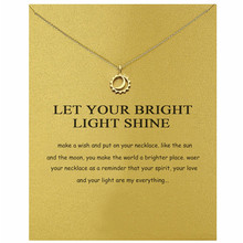 Romantic Round Sun Hollow Moon Pendant Necklace Make a Wish Card Gold Color Clavicle For Women Party Gift