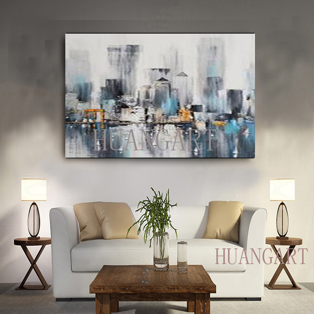 Modern hand painted oil painting knife Paris urban architecture landscape color sofa bedroom adornment the lobby restaurant in Painting Calligraphy from Home Garden