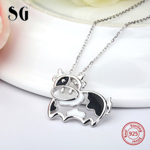 Image 3 - 2018 sterling silver 925 lovely animal cows chain pendant&necklace with black enamel diy fashion jewelry making for women gift