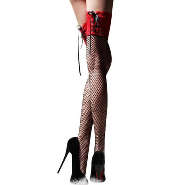 7ed875f0395 Women Sexy Cheap fishnet stockings Sheer Lace Top Thigh High Stockings  Thigh Highs Hosiery Nets Stay Up compression  A40