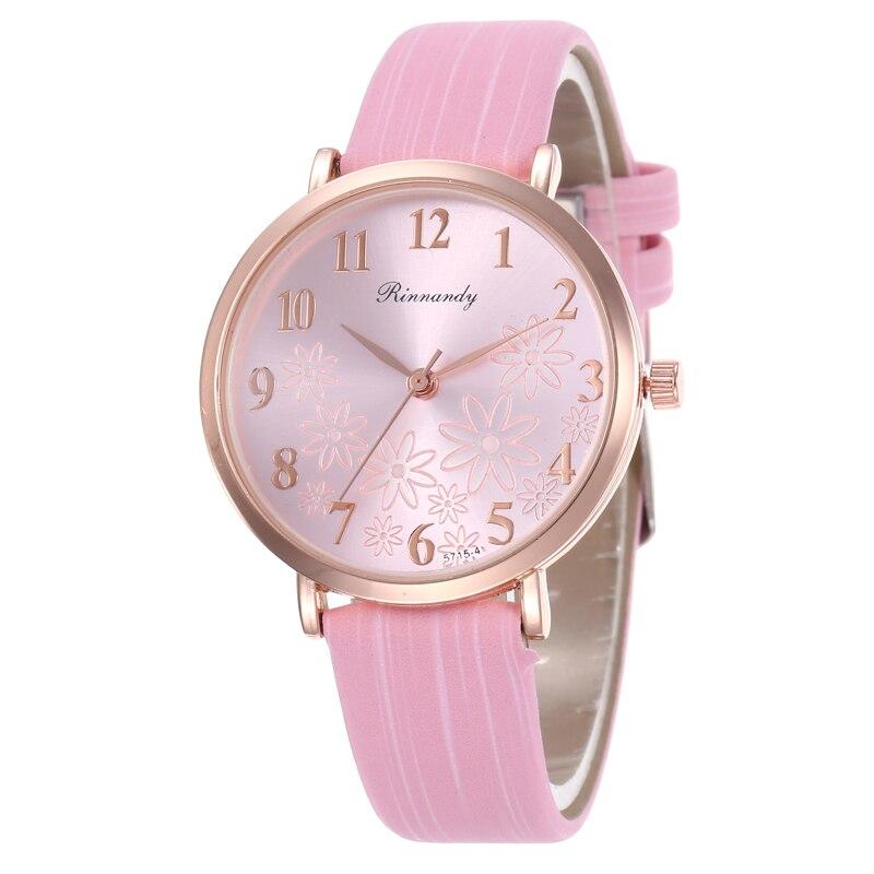 Fashion Simple Flower pattern Women Quartz Watch Leather Strap Female Watches Casual Ladies Wristwatches Zegarek Damski Clock in Women 39 s Watches from Watches