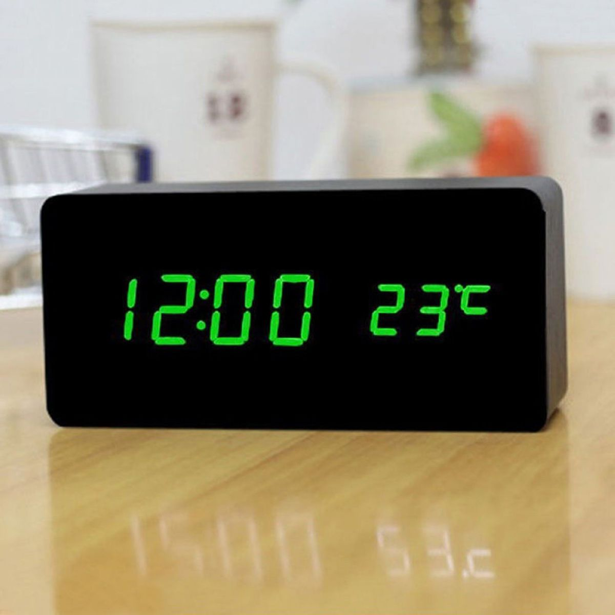 Top Quality Digital LED Alarm Clock Voice Control Digital Table Clock Time  Thermometer Wooden Alarm Clock