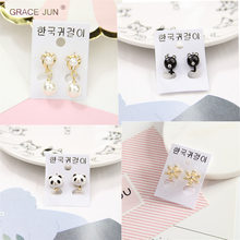 GRACE JUN New Fashion Clip on Earrings No Pierced for Girl's Baby Cute Small Ear Cuffs Earrings Charm Jewelry No Hole Earrings(China)