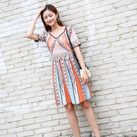 Micosoni High Quality Europe's 2018 New V collar Slim A ling Short Sleeve Slim Color Impact Jacquard Totem Knitted Dresses S L