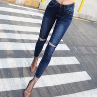 2017 Summer Ripped Knee Skinny Jeans Women Ankle Length Denim Pants Slim Touch Type High Street