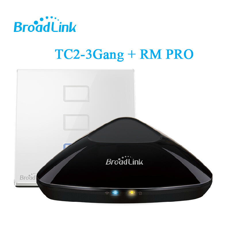 Hotsale Smart Home Kit Controlador de casa inteligente Broadlink RM2 RM PRO + Broadlink TC2 3gang, Interruptor táctil inteligente de luz de pared, Control de WiFi